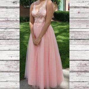 JVN by Jovani pink lace prom dress